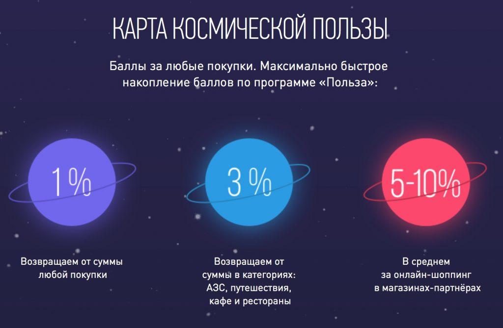 """карта """"космос"""", ставки по кэшбэку"""