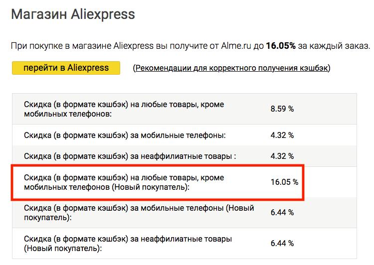 Кэшбэк 16% на AliExpress за первую покупку