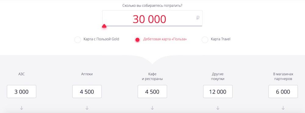 """Калькулятор кэшбэка по карте """"Польза"""""""